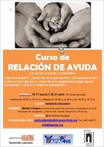 """CURSO """"RELACIÓN DE AYUDA. ESCUCHAR, ACOGER, ACOMPAÑAR"""""""